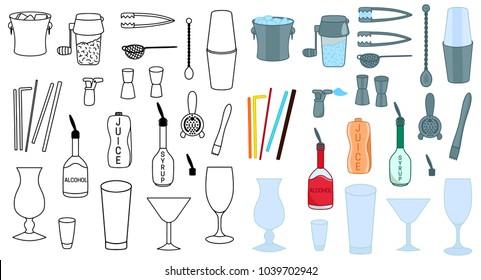 Set of Barman accessories vector colored illustration sketch icon