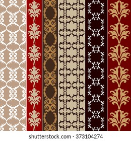 Set of baroque seamless silk wallpaper. Damask print, oriental motifs, neoclassical borders. Vintage patterns collection. Red and golden shadows palette.