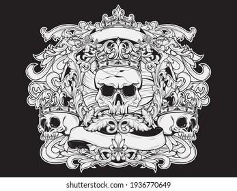 Set of Baroque skulls, street art illustration design