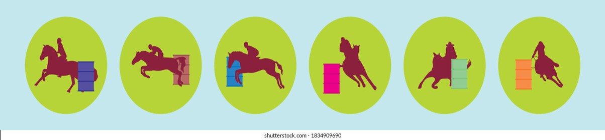 set of barrel racing cartoon icon design templates with various models. vector illustration isolated on blue background
