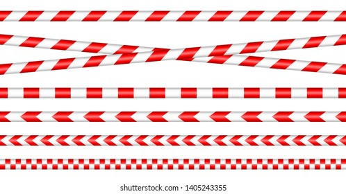 Set Of Barrier Tapes Red And White