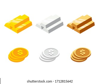 Set of bars and coins in isometric style. Gold, silver and bronze bars and coins. Vector illustration