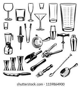 Set Bartender equipment.  Design elements for logo, label, badge, emblem, sign, poster. Vector illustration