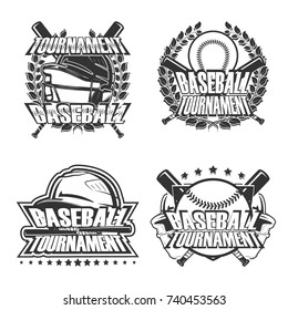 Set of Baseball Badge Logo Design, emblem team tournament template, vector