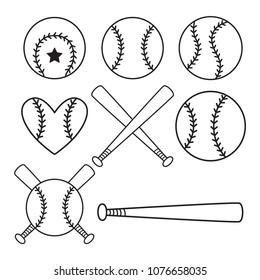 Set of baseball balls, bats. Outline design. Vector illustration isolated on white background.
