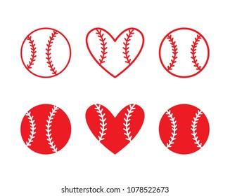 Set of baseball balls. Outline design. Vector illustration isolated on white background.