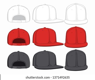 Set of baseball caps, front, back and side view. Vector illustration.