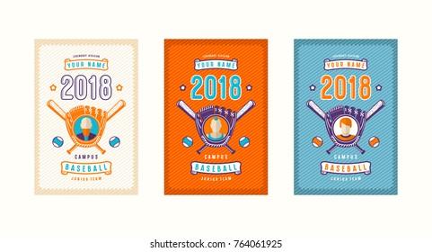 Set of baseball card design. Bright color print