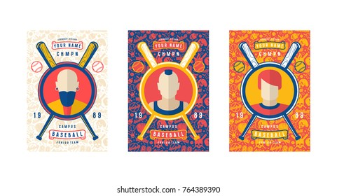 Set of baseball card design. Seamless pattern and emblems. Bright color print