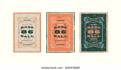 Set of baseball card design in vintage style. Player cards for pitcher, batter and catcher. Illustration with rough texture