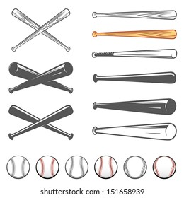 Set of baseball club emblem design elements