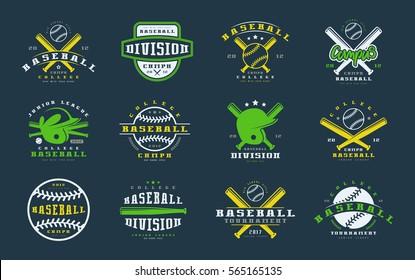 Set of baseball emblems. Graphic design for t-shirt
