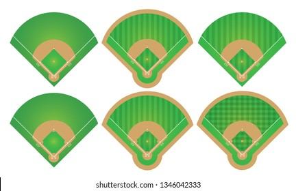 Set of Baseball Fields. sport game field competition.