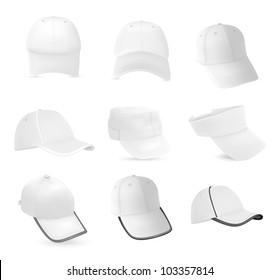 Set of baseball hats templates.