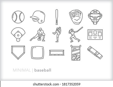 Set of baseball icons for playing the sport or watching a game