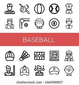 Set of baseball icons such as Athlete, Billiard, Ball, Gangsta, Baseball, Sport, Baseball player, cap, Shuttlecock, Hockey pitch, Gymnast, Cap, Mathematician ,