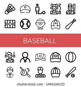 Set of baseball icons such as Shuttlecock, Hockey pitch, Cap, Baseball, Ball, Gangsta, Gymnast, Baseball cap, bat, player, Athlete, Billiard, ball ,