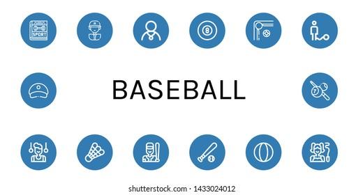 Set of baseball icons such as Sport, Baseball player, Athlete, Billiard, Ball, Gymnast, Shuttlecock, Baseball, ball, Cap ,