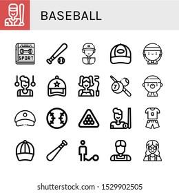 Set of baseball icons. Such as Baseball, Sport, Baseball ball, player, Cap, Gangsta, Gymnast, Billiard, cap, bat, Ball, Athlete, Mathematician , icons