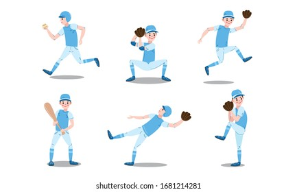 Set of baseball player characters in different actions. Vector illustration in flat cartoon style.