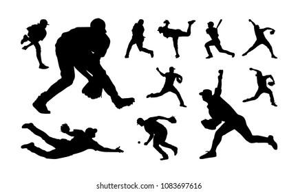 Set of Baseball player silhouette vector, Softball silhouette collection