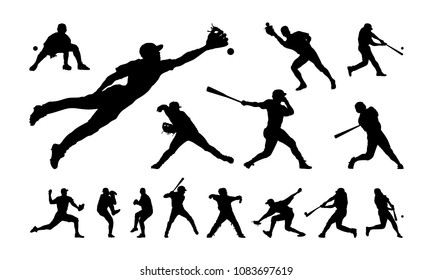 Set of Baseball player silhouette vector, Softball silhouette collection