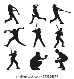 Set of baseball players silhouettes. Batter, catcher, pitcher, base, bowler, fielder, baseman, shortstop