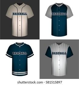 Set of baseball shirts on colored backgrounds, Vector illustration