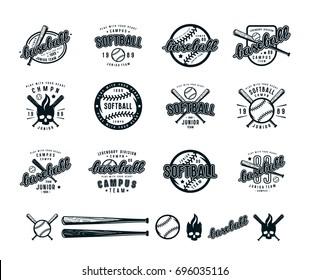 Set of baseball and softball badges. Graphic design for t-shirt. Black print on white background