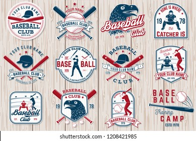 Set of baseball or softball club badge. Vector. Concept for shirt or logo, print, stamp or tee. Vintage typography design with baseball bats, batter hitting ball and ball for baseball silhouette.