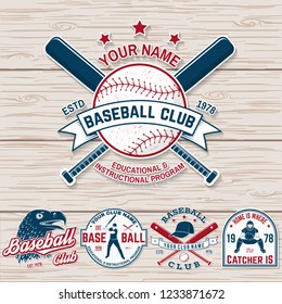 Set of baseball or softball club badge. Vector. Concept for shirt or logo, print,  patch or tee. Vintage typography design with baseball bats, batter hitting ball and ball for baseball silhouette.