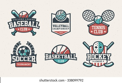 Set of Baseball, Volleyball, Tennis, Soccer, Basketball and Hockey Badges, Sport T-shirt Graphics