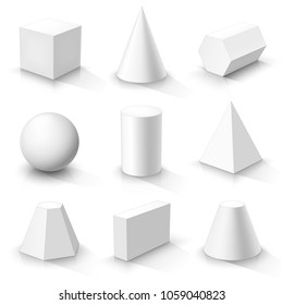 Set of basic 3d shapes. White geometric solids on a white background. Vector illustration