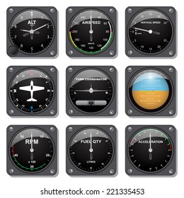 Set of basic aircraft gauges in vector.
