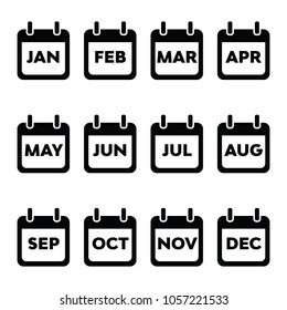 A set of basic calendar month icons in vector format.