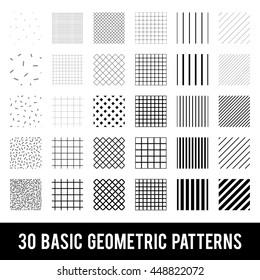 Set of basic geometric patterns. Memphis style. Black and White.