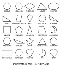 Set of basic geometric shapes . Advance mathematical concepts for algebra and geometry, representation of a square, rectangle and triangle. Vector line shapes illustration isolated on white background