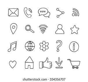 Set of basic hand drawn line icons. Sketch style elements. Universal web icons for media, communication, business, mobile. Vector illustration.