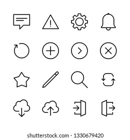 Set of basic interface icons for apps and web design.