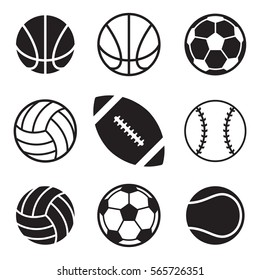 A set of basic sports balls over a white background. These icons include a football, a volleyball, a tennis ball, a volleyball, a basketball, and a soccerball.