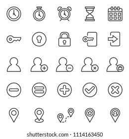 set of basic ui-ux icons, with simple line style, use for web, application, software design, user interface, user experience, user frendly, perfect pixel, startup, ecommerce web, time and date.