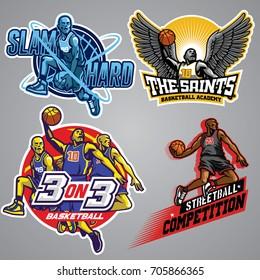 set of basketball badge collection