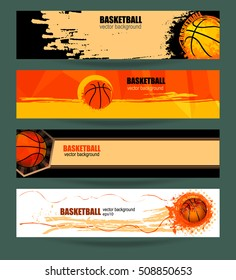 Set basketball banner. Web template. Grunge background polygon. EPS file is layered.