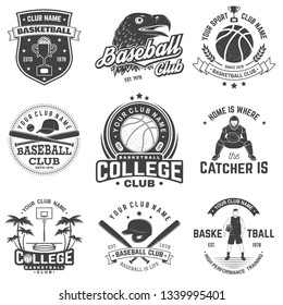 Set of basketball and baseball badge, emblem or sign. Vector. Concept for shirt, print, stamp, apparel or tee. Vintage design with basketball player, baseball player and sport equipments silhouette.