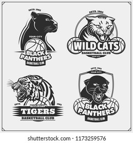 Set of basketball emblems, badges, logos and labels with tiger, panther and wildcat. Print design for t-shirt.