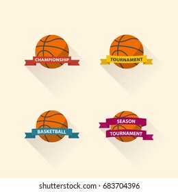Set of basketball graphic icons flat design.