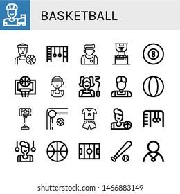 Set of basketball icons such as Roller skate, Basketball player, Monkey bars, Athlete, Basketball, Billiard, Gymnast, Ball, Sport, Hockey pitch, Baseball ball ,