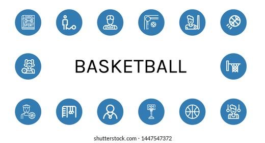 Set of basketball icons such as Sport, Ball, Athlete, Billiard, Basketball, Basketball player, Monkey bars, Gymnast, Cheerleader, Hoop ,