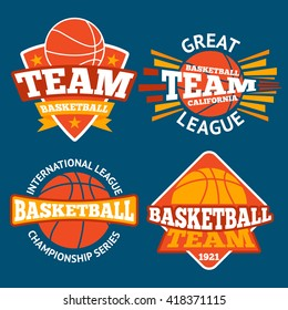 Set of basketball labels with balls and ribbons. Vector