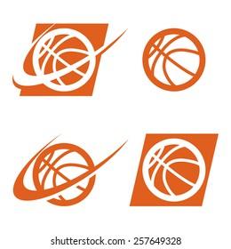 Set of basketball logo icons